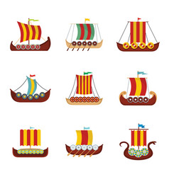 Viking ship boat drakkar icons set flat style vector