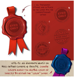 wax seal - eyes only vector image