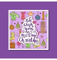 We wish you a merry Christmas - quote on patterned vector