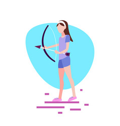 woman archer holding bow arrow white background vector image
