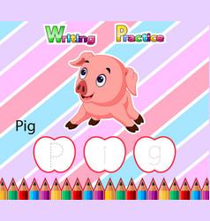 Worksheet writing practice alphabet p for pig vector