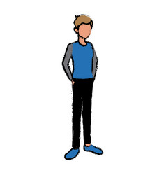 Young guy standing avatar people default character vector