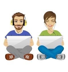 young man and woman with and laptop gaming vector image