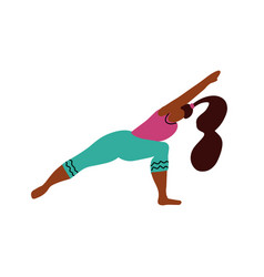 young woman stand on two legs in a yoga pose and vector image