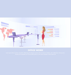 Young woman watching at huge information screen vector