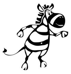 Zebra cheerful dancing cartoon character vector