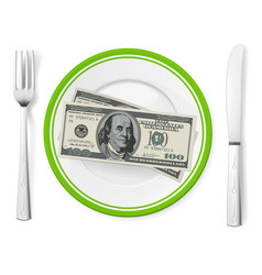 banknotes on a plate on white vector image