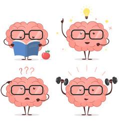 brain cartoon set vector image vector image