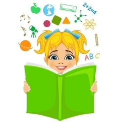 Girl reading a book with education related icons vector image vector image