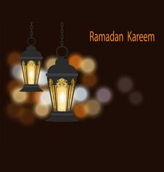 ramadan kareem greeting card black lanterns in vector image vector image