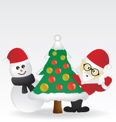 Santa and christmas tree vector image vector image