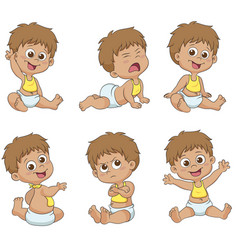 set of cute little babies vector image