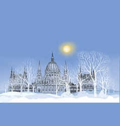 winter holiday snow landscape park palace vector image vector image