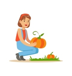 Woman Harvesting Pumpkins Farmer Working At The vector image
