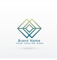 abstract diamond line logo concept design vector image