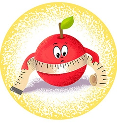 apple with measuring tape vector image