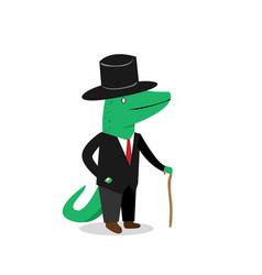 business crocodile in suit cartoon vector image vector image