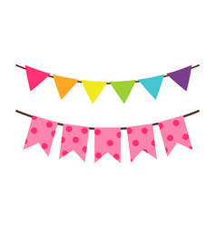 colorful birthday flag decoration for party vector image vector image