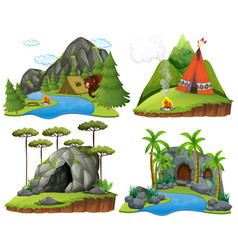 four scenes with bear at campsite vector image