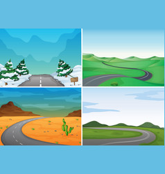 Four scenes with empty roads vector