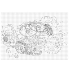 gear mechanism on white vector image vector image