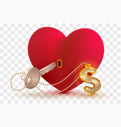 money dollar is key to heart of your beloved red vector image vector image
