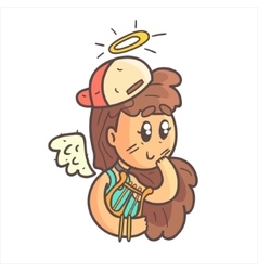 Angel girl in cap choker and blue top hand drawn vector