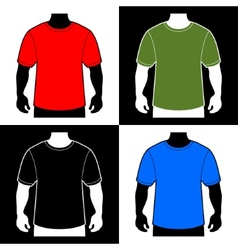Blank Color T-shirt Men Body Silhouette vector image