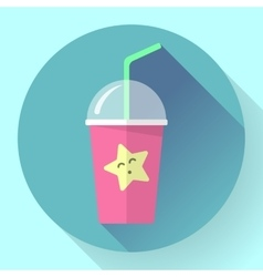 Bubble Tea or Milk Cocktail Glass of drink with vector image