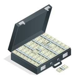Case full of money on white background Lot of vector image vector image