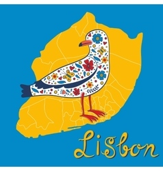 Colorful card with map of Lisbon and seagull vector image