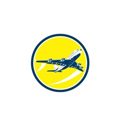 Commercial Jet Plane Airline Circle Retro vector image vector image