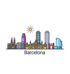 flat line barcelona banner vector image