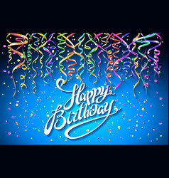 happy birthday greeting card on blue background vector image vector image