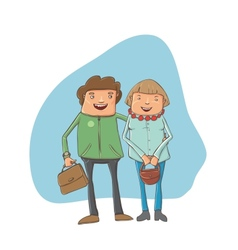 young couple on the street vector image vector image