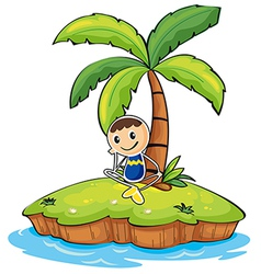 A boy sitting under the coconut tree vector image vector image