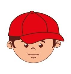 boy cartoon baseball bat isolated vector image