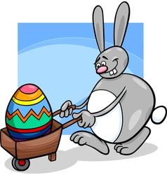 bunny and easter egg cartoon vector image vector image