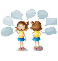 cute girl with blank speech bubbles vector image vector image
