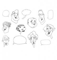 faces doodle vector image