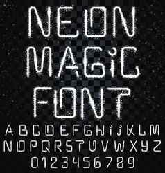 Font magic bright shiny font electric letters vector
