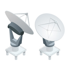 isometric satellite dish antennas on white vector image