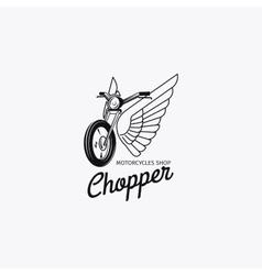 Motorcycle shop logotype or motorbike label vector image