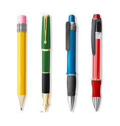 realistic 3d pen and pencil set vector image