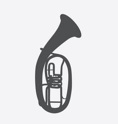 Widely menzurny brass instrument tube vector