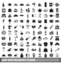100 restaurant icons set simple style vector image