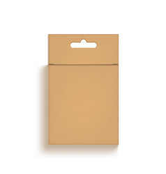 3d hanging brown cardboard craft box isolated vector