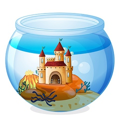 A castle inside fishbowl vector