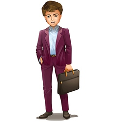 A man holding a suitcase vector