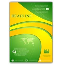 Abstract green yellow wavy flyer design vector